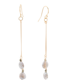 Made In USA Coated Grey Moonstone Gold Filled Earrings