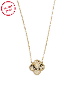 14k Gold Diamond Cut Clover Necklace