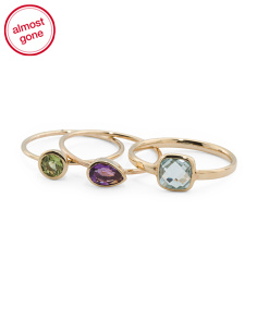 Made In Spain 14k Gold Gemstone Set Of 3 Stacking Rings