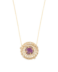 Made In Spain 14k Gold Diamond And Amethyst Necklace