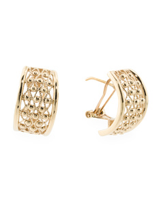 Made In Spain 14k Gold Textured Half Hoop Earrings