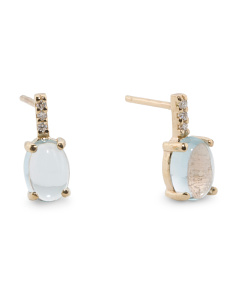 Made In Spain 14k Gold Diamond And Blue Topaz Earrings