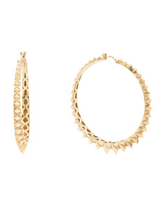 Made In UK 14k Gold Plated Sterling Silver Superstud Hoop Earrings