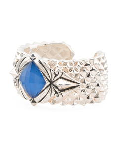 Made In UK Sterling Silver Superstud Blue Agate Doublet Cuff Bracelet