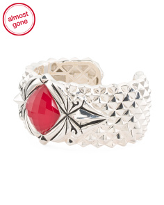 Made In UK Sterling Silver Superstud Red Coral Doublet Bracelet
