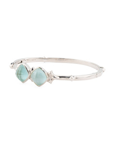 Made In UK Sterling Silver Superstud Crystal Haze Bangle Bracelet