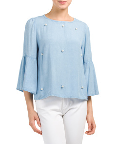 Pearl Detail Bell Sleeve Top