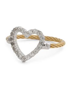 Laetitia White Topaz Heart Gold Cable Ring