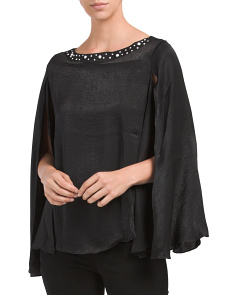 Embellished Split Bell Sleeve Top