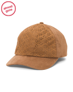 Perforated Faux Suede Baseball Cap