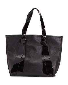 Leather Tote With Patent Trim