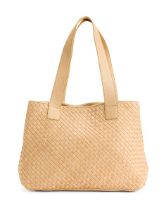 Woven Soft Leather Tote