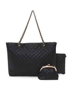 3pc Quilted Tote Set