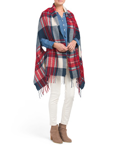 Boucle Plaid Woven Cape
