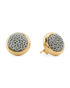 Made In Bali Sterling Silver And Mesh Circle Stud Earrings