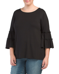 Plus Made In USA Ruffled Bell Sleeve Top