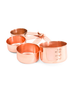 4pc Copper Finished Measuring Cups On Ring