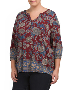 Plus Floral Border Top