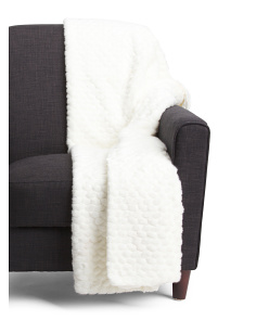 Textured Faux Fur Throw