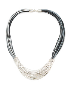 Made In Israel Sterling Silver Mixed Cord Necklace