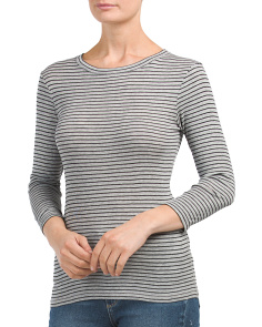 Heathered Striped Pima Cotton Knit Top