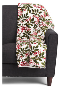 Deck The Holly Plush Throw In Gift Box