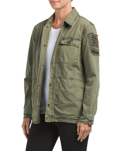 Beaded Military Shirt Jacket