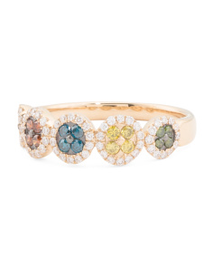 14k Gold Multicolor Diamonds Oval Exotic Collection Ring