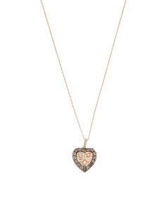 14k Gold Chocolate Quartz Diamond Chocolatier Heart Necklace