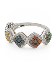 14k White Gold Multicolor Diamond Band Ring