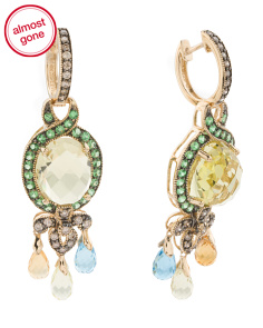 14k Gold Lemon Quartz Gemstone And Diamond Earrings