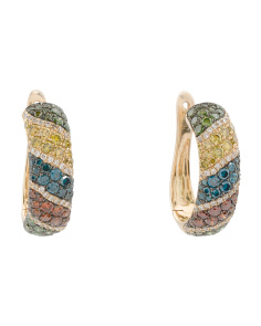 14k Gold Multicolor Diamonds Exotic Collection Hoop Earrings