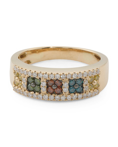 14k Gold Multicolor Diamonds Exotic Collection Ring