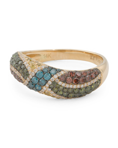 14k Gold Multicolor Diamonds Exotic Collections Ring