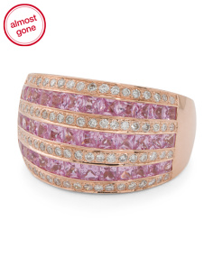 14k Rose Gold Pink Sapphire And Diamond Wide Ring
