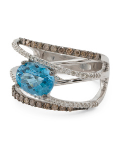 14k White Gold Blue Topaz And Diamond Gladiator Ring