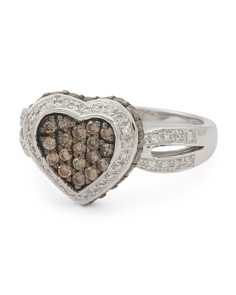 14k White Gold Chocolate And White Diamond Heart Ring