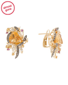 14k Gold Citrine And Diamond Crazy Collection Earrings