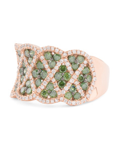 14k Rose Gold Green And White Diamond Wide Ring