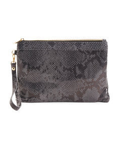 Made In Italy Leather Wristlet Clutch