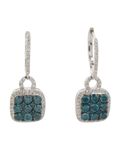 14k White Gold Blue And White Diamond Earrings