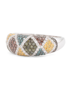 14k White Gold Multicolor Diamonds Exotic Collection Ring
