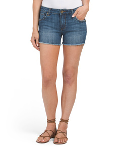 Petite Gidget Fray Hem Denim Shorts