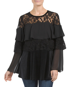 Velvet Tiered Top With Lace
