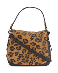 Made In Italy Leopard Leather Saddle Bag