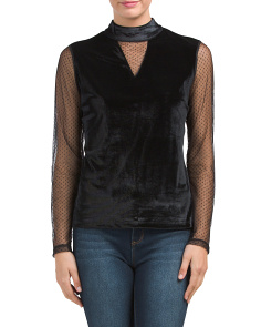 Velvet Long Sleeve Netting Blouse