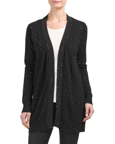 Studded Front Long Open Cardigan
