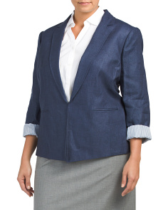Plus Linen Denim Blazer