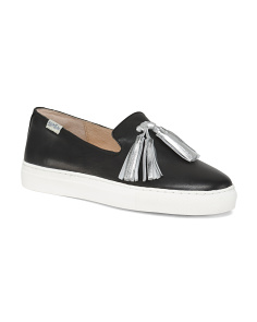 Leather Tassel Slip On Sneakers