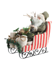 18in Santa In Sleigh Decor